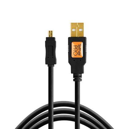 Cable TetherPro USB 2.0 A male a mini-B (8 Pin) 4.6m (Negro)