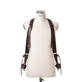 Cross Body - Double Bridle Sideburns Dark Brown Leather