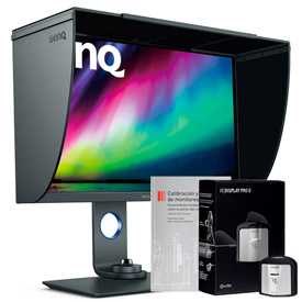 Monitor BenQ SW270C con visera y i1 Display PRO